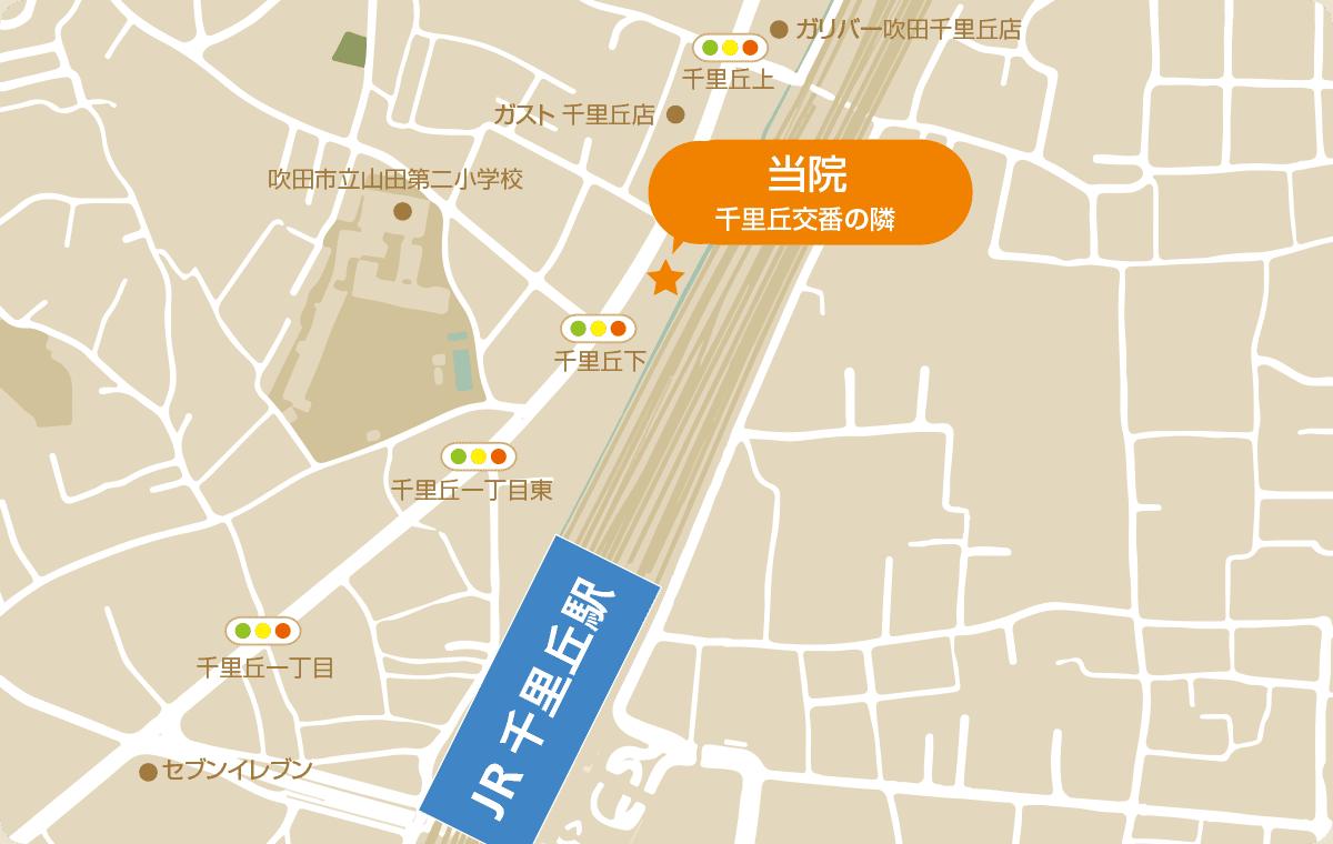 JR千里丘駅からの地図 千里丘交番の隣りです