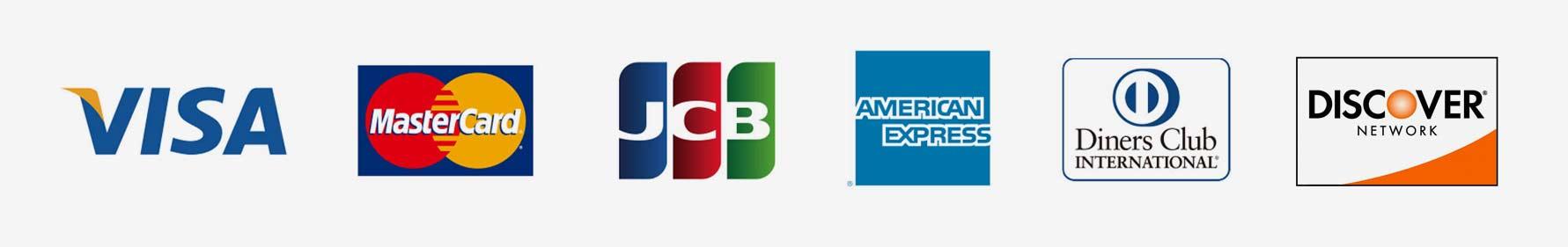 VISA/MasterCard/JCB/Amerecan Express/Diners Club/Discover